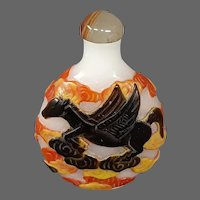 Peking cameo glass Pegasus winged horse in clouds snuff bottle