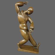Henry Schonbauer art deco bronze man sculpture listed Hungarian artist