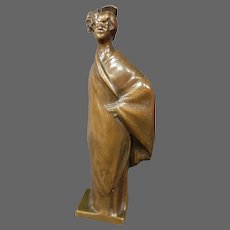 Leo Laporte Blairsy bronze sculpture standing woman in dress signed