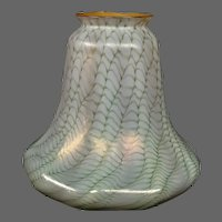 Antique snakeskin decorated art glass shade