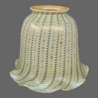 Antique decorated zipper pattern art glass shade Fostoria