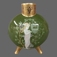 Moore Bros antique pate sur pate winged fairy moon flask vase signed