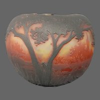 Daum Nancy French cameo glass miniature scenic rose bowl