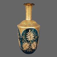 Moser antique art glass enameled gilded platinum decanter
