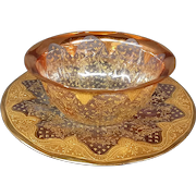 Moser antique cranberry gilded fingerbowl and underplate