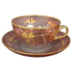 Moser cranberry gold enameled oversized cup and saucer