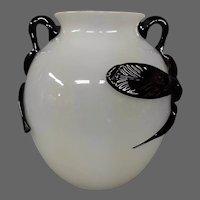 Steuben mat-su-no-ke mirror black alabaster vase