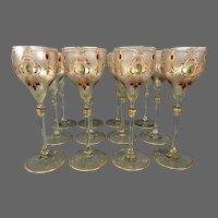 Moser antique Bohemian enameled art glass set twelve tall goblets