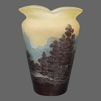 Galle French cameo glass four color landscape scenic vase