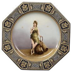 Royal Vienna portrait plate Poesie beehive mark octagonal shape