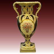 Dresden porcelain impressive large floral roses bolted urn vase