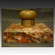French antique marble and brass inkwell