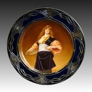 Royal Vienna beehive portrait plate young lady silver overlay