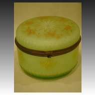 Victorian green cased art glass enameled dresser box