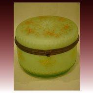 Victorian green cased art glass enameled dresser box