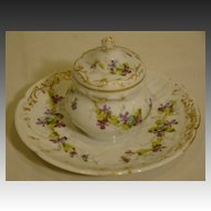 Sevres French porcelain hand painted floral inkwell