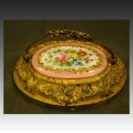 French porcelain bronze floral paperweight