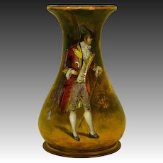 Antique French enamel vase portrait courting pastoral setting