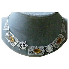 Lovely Art Deco Era Necklace Bright Silver Tone Filigree with Faux Citrines Made in Germany