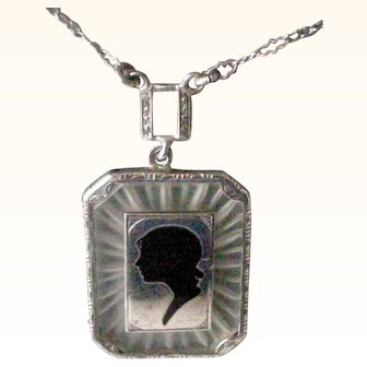 Delightful Deco Pendent Necklace Sterling Silver Black Enamel Silhouette on Frosted Crystal