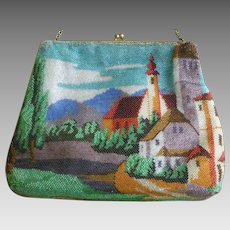 Vintage Scenic Beaded Bag Vibrant Colors Puffy Square Shape