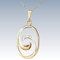 Vintage Pendent Necklace Mid-Century 9 ct Gold + Diamonds Swirl