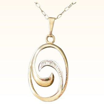 Vintage Pendent Necklace Mid-Century 9 ct Gold + Diamonds Swirl