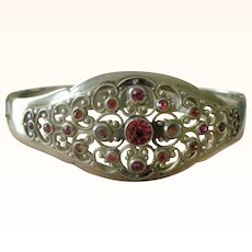 Vintage Bangle Bracelet Silver with Swirls of Pink on Filigree