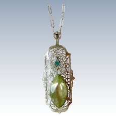 Charming 1920's Filigree Pendent Necklace with Pale Green Crystal