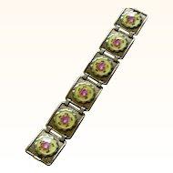 Superb Bracelet Enamel Flower Circles in Sterling Silver Links Deco Era