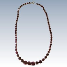 Elegant Deep Red Rhinestone Line Necklace Deco REDUCED!
