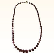 Elegant Deep Red Rhinestone Line Necklace Deco