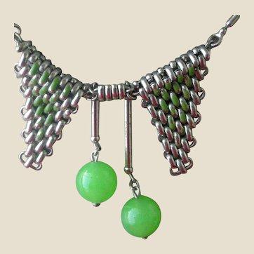 Art Deco Necklace Galalith, Enamel & Chrome Jakob Bengel