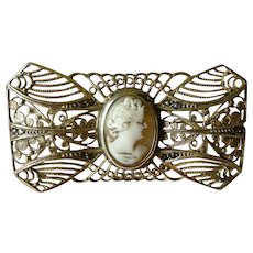 Lacy Silver Filigree with Cameo Center Vintage Pin