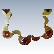 Fine Art Deco Necklace Amber Colored Mirror Glass on Golden Scallops