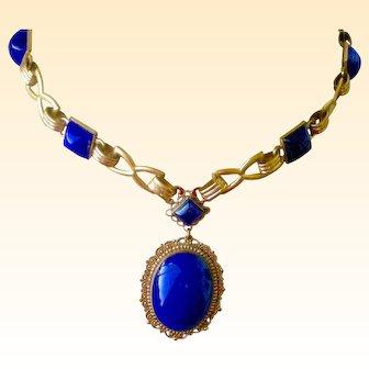 Premier Art Deco Vintage Necklace Faux Lapis in Bright Yellow Gilt