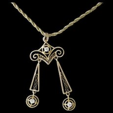 Fine Early 1900s Pendent Necklace 14K Yellow Gold Filigree Two Dangles, Three Raised Diamonds - Red Tag Sale Item