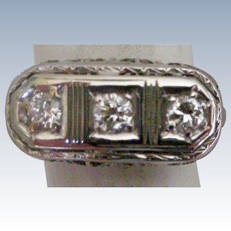 Art Deco Era 3 Diamonds Across Ring in 18K White Gold Filigree Setting