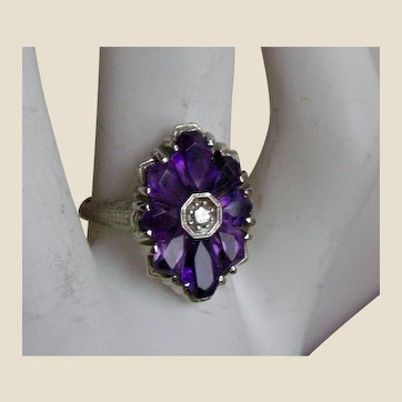 Fine Art Deco Ring Amethyst Flower Petals, Diamond Center 14K White Gold MAKE AN OFFER