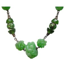 Fabulous Art Deco Bead Necklace Green Peking Glass and Foiled Glass Beads
