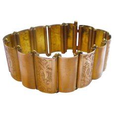 Elegant Yellow Gold Filled Victorian Bracelet Curved Smooth and Engraved Links Circa 1880 From England