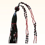 30% OFF ORIGINAL PRICE Spectacular 1920s Seed Bead Flapper Necklace Red and Black, Long Bead Tassel