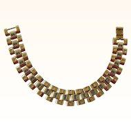 Retro 1940s Gold Tone Chunky Link Bracelet with Faux Diamonds & Faux Sapphires 30% OFF ORIGINAL PRICE