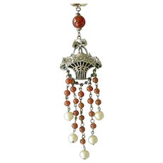 Bead Necklace with Flower Basket Center Faux Pearls, Faux Carnelian PRICE REDUCED