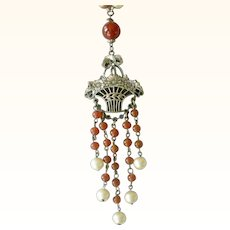 Bead Necklace with Flower Basket Center Faux Pearls, Faux Carnelian