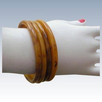 Set of 4 Marbled Butterscotch Bakelite Bangle Bracelets--Vintage
