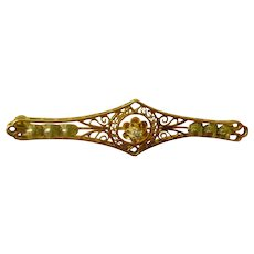 Delightful Early 1900s Bar Pin Lacy Filigree with Diamond Center 14K Yellow Gold
