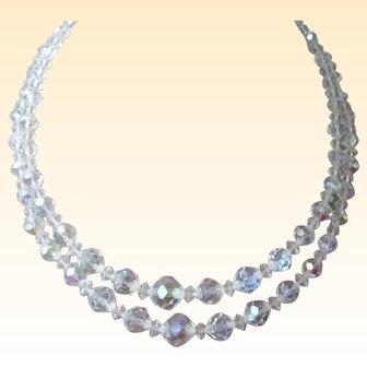 Vintage Double Strand of Aurora Borealis Crystal Beads