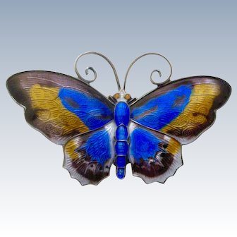 David Andersen Norway Enameled Butterfly Pin Blue and Gold Wings Sterling Silver