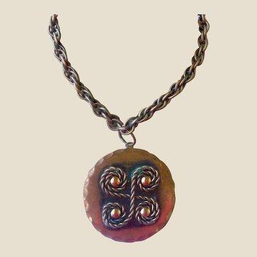 Rebajes Mid-Century Copper Pendant Necklace